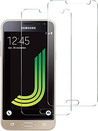 NEW'C Verre Trempé pour Samsung Galaxy J3 2016,[Pack de 2] Film Protection écran - Anti Rayures - sans Bulles d'air -Ultra Résistant (0,33mm HD Ultra Transparent) Dureté 9H Glass