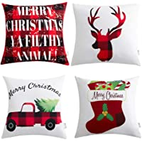 4-Pack Anickal Christmas Pillow Covers 18x18 Red and Black