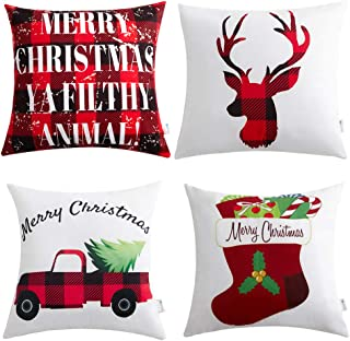 Anickal Christmas Holiday Decorations Christmas Red and Black Buffalo Check Velvet Holiday Pillow Covers 18 x 18 with Christmas Truck Deer Socks Xmas Gifts