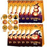 Halloween Sacchetti di Carta, per dolcetti, Sacchetti Regalo di Carta, per bomboniere di Halloween, 12 Sacchetti di Caramelle con 18 Adesivi di Halloween