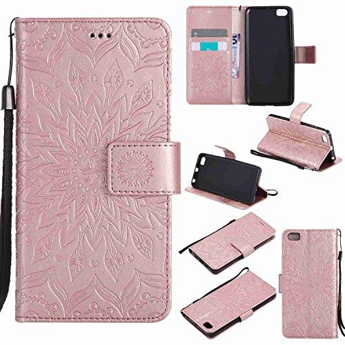 pinlu® PU Leder Tasche Etui Schutzhülle für Xiaomi Mi5 Lederhülle Schale Flip Cover Tasche mit Standfunktion Sonnenblume Muster Hülle (Roségold)