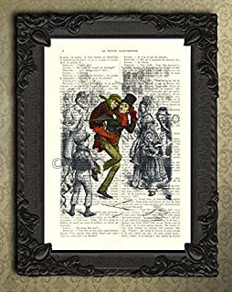 A Christmas Carol artwork, Tiny Tim dictionary art print, upcycled Charles Dickens decor, antique kids room illustration, Timothy Cratchit wall hanging decorations