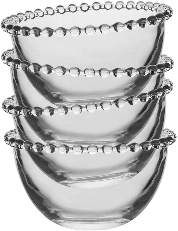 Set Of 4 Glass Bowls Beaded Edge Dessert Bowls Amazon Co Uk Kitchen Home