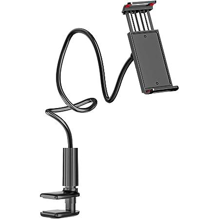 タブレット スタンド スマホスタンド フレキシブルアームスタンド 360°回転 高さ調整でき 卓上 ベッド寝ながら用 スマホスタンド 土台強化 滑り止め 安定性抜群 卓上ホルダー 伸縮クラップ式 タブレットスタンド 4〜10.6インチ ipad/ipad mini/ipad Pro/iPhone/Switch/カメラ対応 専用箱付き (ブラックB)