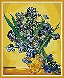 Kit de bordado de punto de cruz estampado DIY preimpreso de 14CT, línea completa de kits de inicio para principiantes: Van Gogh-Still Life with Iris 40 x 47 cm