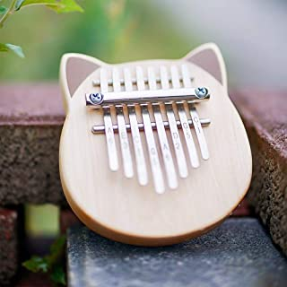 Vvave 8 Key Cat Kalimba Birch Material Thumb Piano Musical Instrument with Learning Book Tune Hammer (BurlyWood) Durable