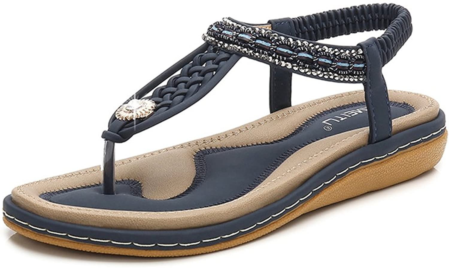 Tuoup Women's Jeweled Knitted Leather Thong Sandles Ladies Sandals