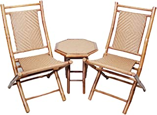 Heather Ann Creations 3-Piece Bamboo Bistro Set with Diamond Weave, Brown and Tan
