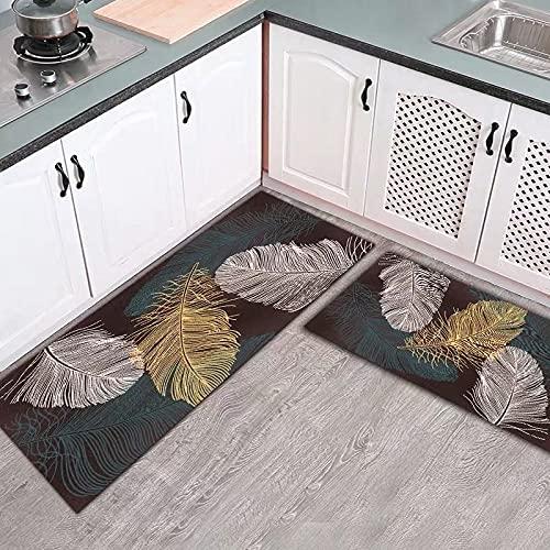 WESG Alfombrillas Antideslizantes de Cocina, Alfombrillas de Puerta de Pasillo de Dormitorio de Sala de Estar Interior de la casa, tapices absorbentes de baño NO.2 50X80cm y 50X160cm