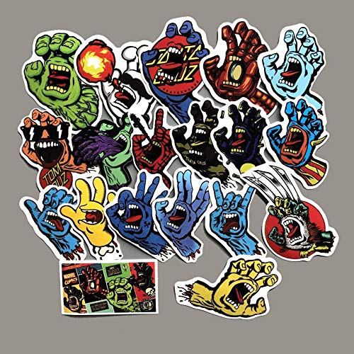 BLOUR 19pcs / Lot Santa Cruz Horror Hand Graffiti Terror Stickers Scrapbooking Bagagli per Moto Chitarra Skateboard Adesivi Impermeabili