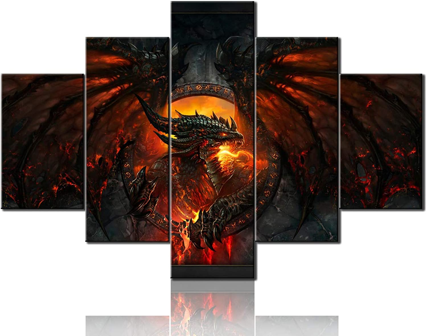 TUMOVO Contemporary Wall Art Fire Medieval Dragon Pictures
