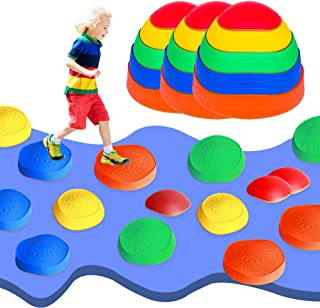 OMNISAFE Balance Stepping Stones Obstacle Course for Kids, Indoor & Outdoor Toy Helps Build Coordination & Strength, Non-S...