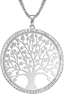 Collana donna di moda, collana a forma di ciondolo albero della vita celtica per ragazze Collana a catena lunga con cristallo