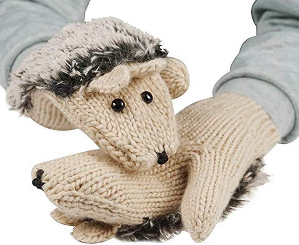YouZi Women's Cartoon Hedgehog Winter Cotton Gloves Girls' Thick Mittens