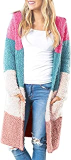 Loosebee◕‿◕ Women's Long Sleeve Rainbow Color Block Open Front Drape Oversized Knitted Sweater Cardigan with Pockets