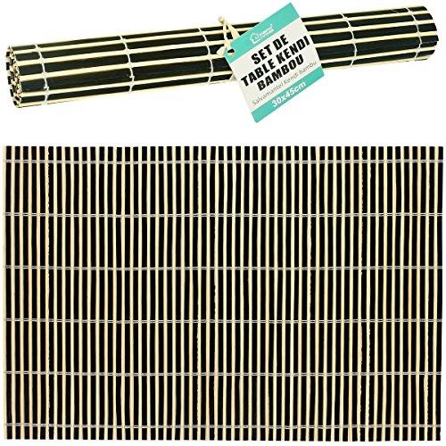 Promobo - Set De Table Luxe Bambou Design Tribeca Bicolore Zen Nature Noir 45x30cm