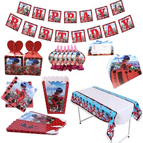Miracoloso Coccinella Forniture per feste Decorazioni per feste di compleanno Bomboniere per ragazze Baby Shower Include tovaglie,striscioni,biglietti d'invito,scatola di caramelle,scatola di popcorn