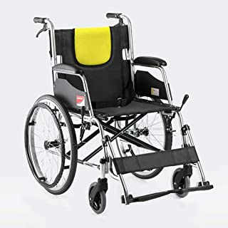 Ultralight Transport Wheelchair with Lightweight Steel Frame,Folding Chair is Portable for Adults, Large 20 inch Back Whee...