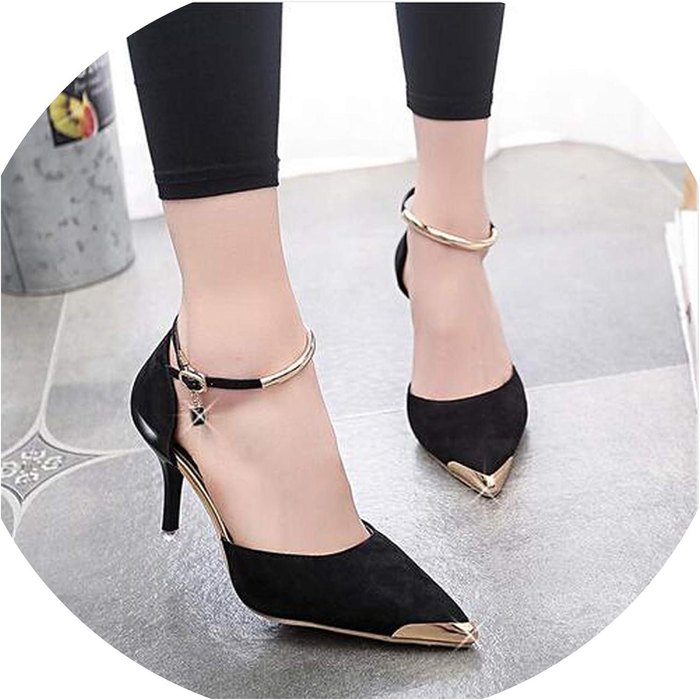 Lost Stars Women Suede Pumps High Heels shoes Women Pointed Toe Thin Heel Ladies Wedding shoes