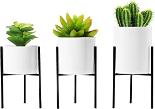 T4U Small Ceramic Plant Pot with Metal Stand and Drainage Hole Window Boxes Succulent Cactus Flower Pot White with Iron Stand Holder for Desktop and Home Decor, Set of 3 (Excluding Plant)