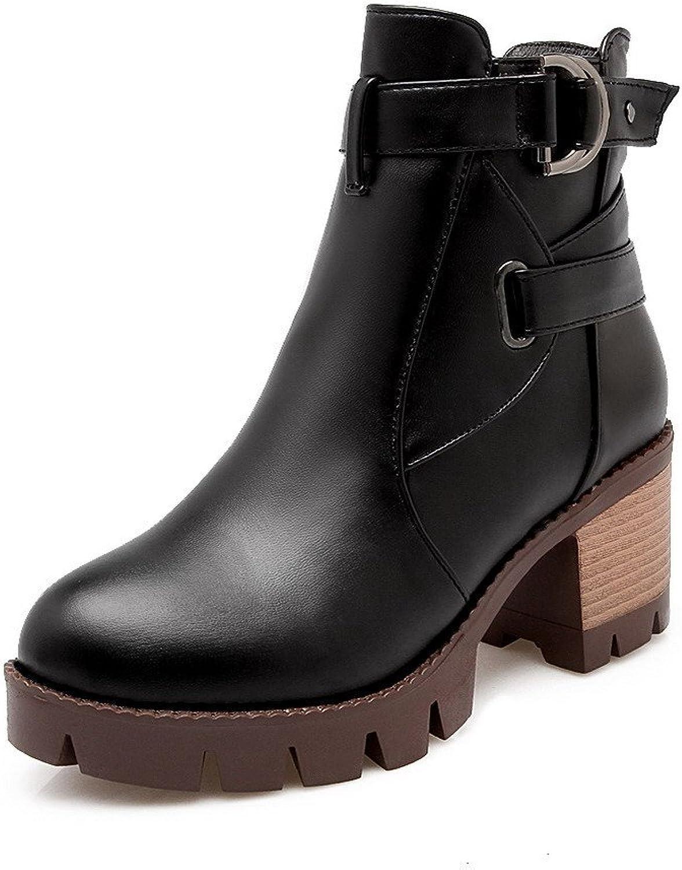 AmoonyFashion Women's PU Low Top Solid Zipper Kitten-Heels Boots