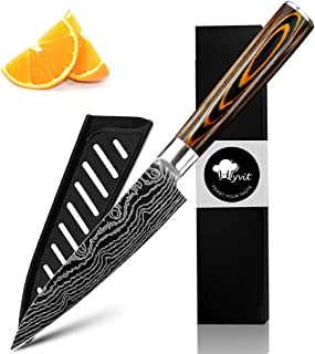 MYVIT Chef Knife Pro Kitchen Knives 5 inch Japanese Steel Fruit Paring Cutting Carving Vegetable [Knife Sheath]