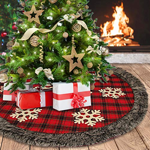 48 Inch Large Buffalo Plaid Christmas Tree Skirt with Thick Faux Fur Trim and Snowflakes