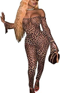 IyMoo Sexy Bodycon Club Jumpsuits for Women - Off Shoulder Printed Mesh Sheer Trumpet Long Sleeve Romper Catsuit