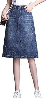 Women's Vintage Wash High Waist Back Split A-Line Jean Midi Skirt