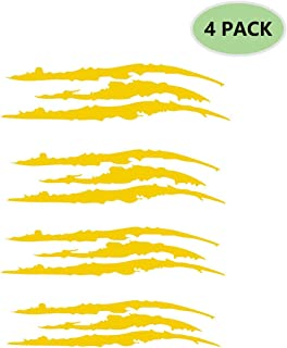AMOUTOR 4PCS Claw Marks Decal Reflective Sticker, Waterproof Headlight Decal Fit for All The car Models (Yellow)