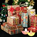 Christmas Gift Wrapping Paper 10 Pack, 70x50CM Large Sheets, 9 Designs (Bonus 8 Stickers)
