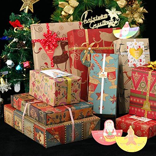 Carta regalo natalizia, 10 pezzi, 70 x 50 cm, 9 disegni (8 adesivi omaggio)