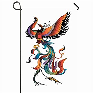 Ahawoso Outdoor Garden Flag 28x40 Inches Red Fantasy Colorful Phoenix Tattoo Fire Bird Animals Wildlife Outline Air Beautiful Character Drawn Seasonal Home Decor Welcome House Yard Banner Sign Flags