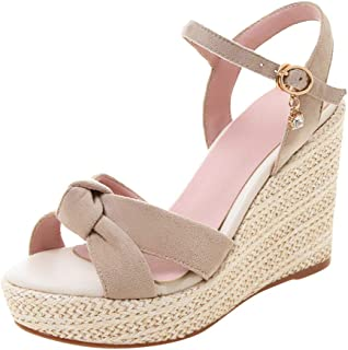 Women Open Toe Wedges Sandals, Ladies Summer Solid Fashion Buckle Thick Bottom Shoes