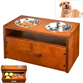 XCSOURCE Raised Pet Bowls for Dog, Wooden Elevated Dog Bowl Pet Feeder Dog Feeding Station for Large Dogs with Storage Drawer for Dog Food Toys 2 Stainless Steel Bowls