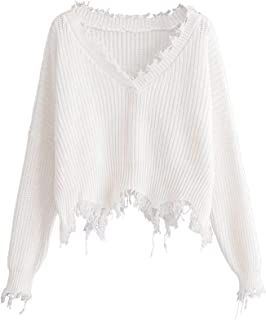 Women's Casual Drop Shoulder Knit Pullover Sweater