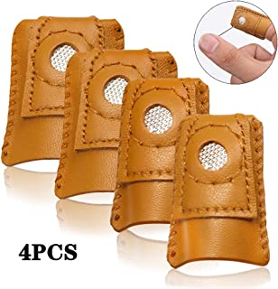 4 Pack Sewing Leather Thimble Finger Protector for Knitting Quilting Craft Tool Sewing Pin Pads Needles Partner Needlework Accessory