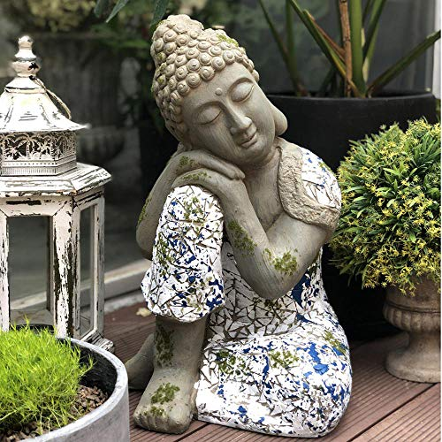 Dormir Buda Decoración Adorno Sentado Estatua Meditando En Impresionante Acabado (Grande) - 46 * 31 * 29 Cm Sleeping Buddha