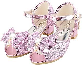 Bumud Kids Fashion Little Girls Glitter Pretty Party Dress Pumps Sandals 12 M US Little Kid, Pink