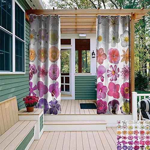 Porch Gordijnen Bloem Patroon van Diverse Vaas Bloemen Petunia Botanische Wilde Orchidee Bloemennatuur Kunst Energie Efficiënt, Room Darkening W72