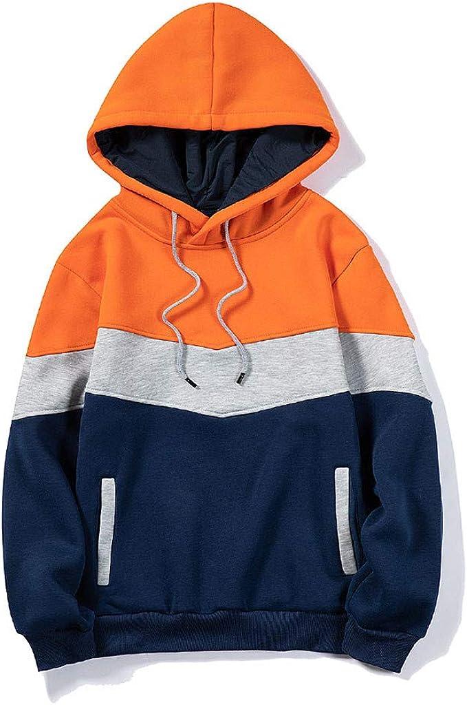 Mens Hoodies Contrast Raglan Long-Sleeve Men's Pullover Blend Fleece Hoodie with Pocket Athletic Sport Sweaters