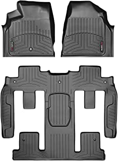 WeatherTech Custom Fit FloorLiner - 442511-449423 - 1st Row, 1-Piece 2nd/3rd Row (Black)