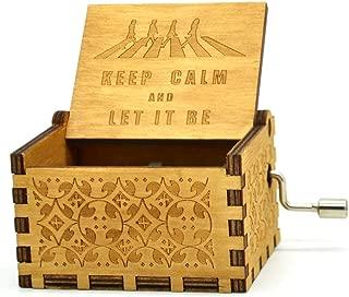 Caja de música de Beatles, cajas musicales de manivela de madera tallada antigua para el cumpleaños de los niños