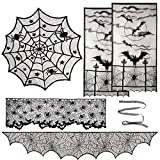 Aritiflr 5 Pack Halloween Decorations, Black Lace Party Decor, Bat Window Curtains, Spider Web Fireplace Mantel Scarf Cover, Spider Web Table Topper Tablecloth, Halloween Lamp Shade