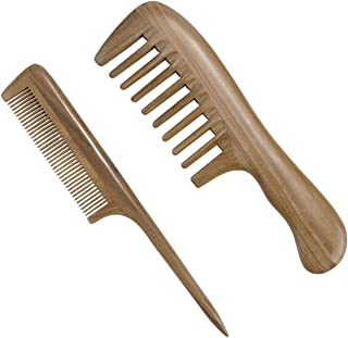 CCbeauty Natural Green Sandalwood Wood Comb No Static Wide Tooth Comb and Fine Tooth Rat Tail Comb Wooden Comb Set