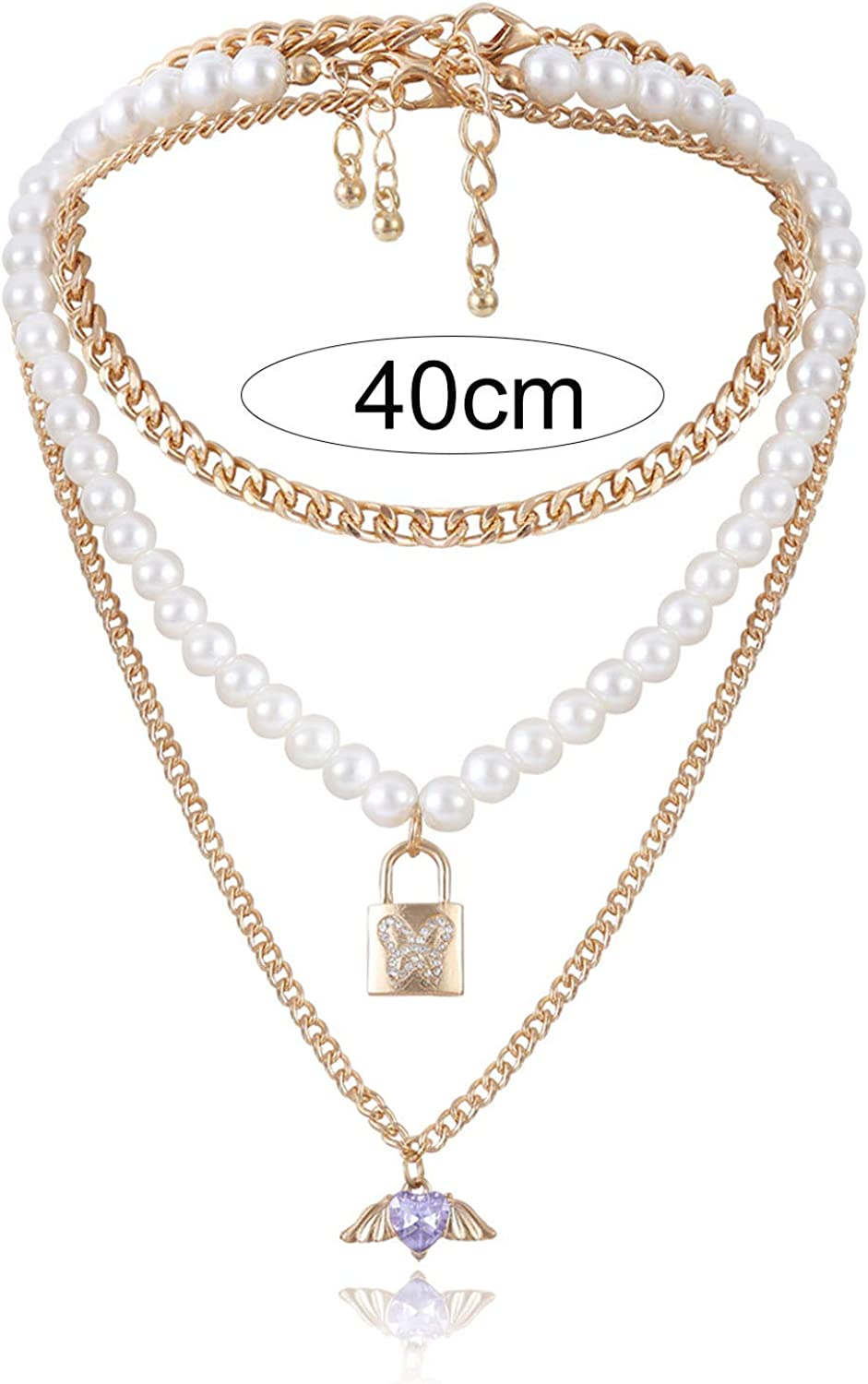 Necklace Butterfly Lock Temperament Wing Faux Pearls Multilayer Chain for Dating for Women Girls Teens