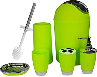SOELAND Bathroom Accessories Set, 6 Piece Plastic Gift Set Bath Accessory Kits,Toothbrush Holder,Toothbrush Cup,Soap Dispenser,Soap Dish,Toilet Brush Holder,Trash Can