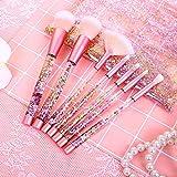 Brochas de Maquillaje 7 Piezas de HyAdierTech, Cerdas de Fibra Sintética Suaves y sin Crueldad, Detalle de Oro Rosa, Elegante de Bolsa de Almacenamiento de PV Incluido, Chispeante & Bling