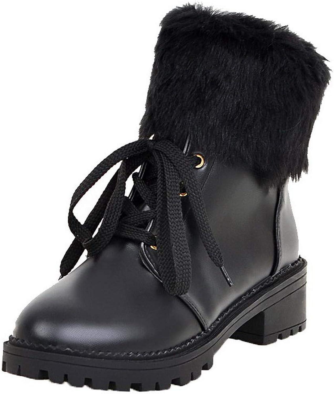 WeenFashion Women's Pu Zipper Round-Toe Kitten-Heels Low-Top Boots, AMGXX130101