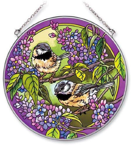 Amia 5580 Handpainted Glass Chickadee Suncatcher 61/2Inch